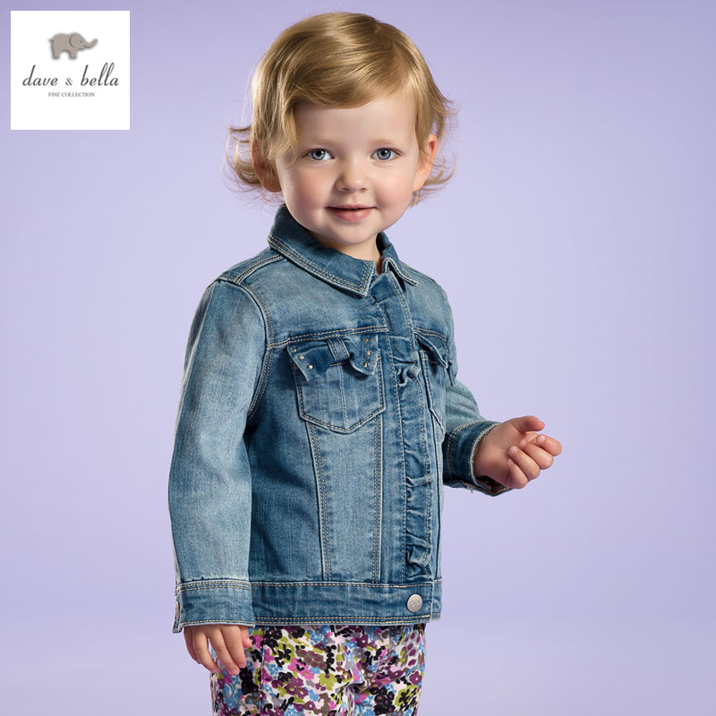 DB2719 dave bella spring autumn new baby girls jeans coat infant clothes toddle coat girls outerwear kids jacket<br>