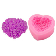 3D Mould Loving Heart Rose Flower Bouquet Silicone Form Mold Cake Decorating Sugarcraft Cupcake Soap Cake DIY Mould Tool