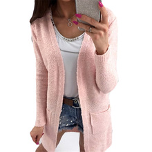 New Fashion Style Knitted Cardigan Women Sweater Autumn Solid Long Sleeve Cardigans Knitting Sweaters Black Pink Sweater(China)