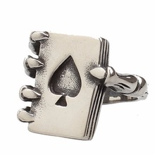 Fatpig Vintage Black Rose Men Rings Gothic Punk Skull Hand Claw Poker Playing Card Design Masculino Men Jewelry Engraving