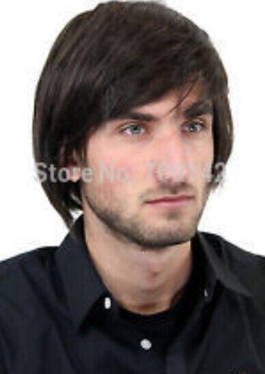 DYZ+++523 Mens Wig Men Medium Long Youth Casual Modern Dark Brown Wig male mans men hair wigs Fastdom<br><br>Aliexpress