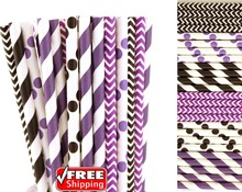 150pcs Mixed 6 Designs Black and Purple Themed Paper Straws-Stripe,Chevron,Polka Dot Wedding Birthday Party Colored Drinking