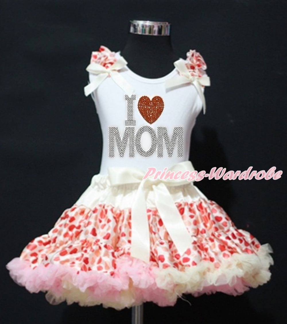 Mommys day Rhinestone Love Mothers Day Heart White Top Beige Hearts Girl Pettiskirt 1-8Y MAPSA0013<br>