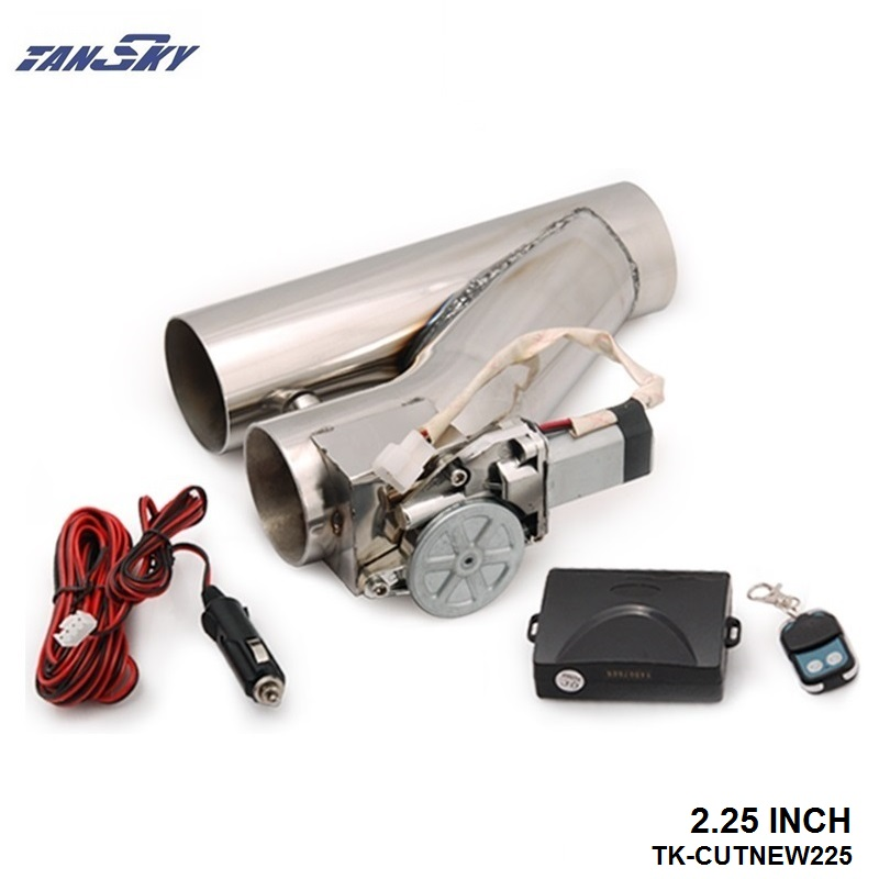 """TANSKY- 2.25"""" Exhaust Downpipe Testpipe Catback E Electric Cutout kit Switch Control+Remote TK-CUTNEW225"""