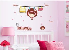 MOCMOC DOLL cartoon lovely girl vinyl wall sticker for home decorations of kids room decals Removable wall paper 7137