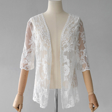Pengpious Korean style loose clothing female summer new flowers embroidery hollow out lace cardigans women sexy lace shirts nice(China)