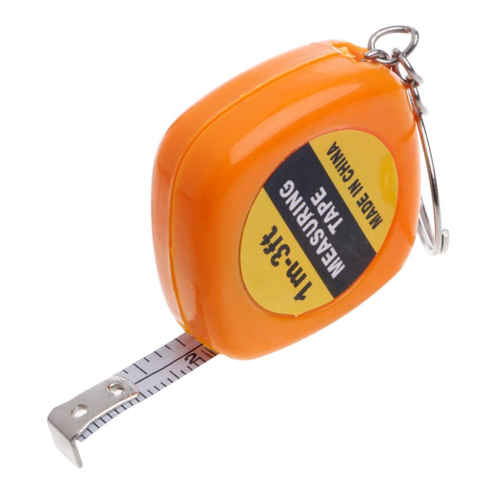 1m//3ft Easy Retractable Ruler Tape Measure Mini Portable Pull Ruler Keychain
