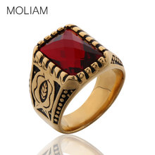 MOLIAM Size 8-12 Men Rings Big Carved Red/Blue/Yellow Stone Antique Stainless Steel Engraved Lover Ring MLBR058/MLBR072/MLBR078
