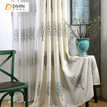DIHIN 1 PC Embroidered Curtain Garden Tree Curtains For Bedroom Window Blinds Ready Made Sheer Curtain