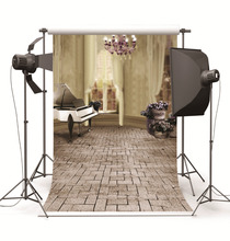 Indoor Piano Brick Floor Photographic Backgrounds Children Wedding Vinyl Cloth Photo Backdrops for Photo Studio Fundo Fotografia(China)