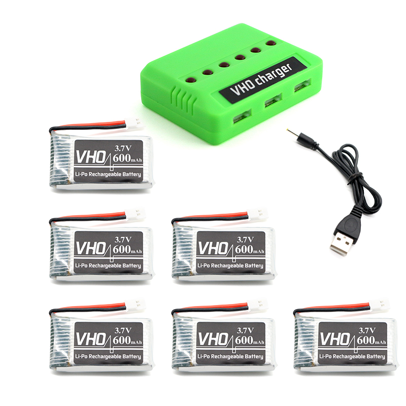 VHO 6pcs 3.7V 600mah 25C Lipo Battery and 6 in 1 charger box for SYMA X5C X5SW X5S X5SC CX30W V977 QX95 QX90 QX80 E30 E30W <br>