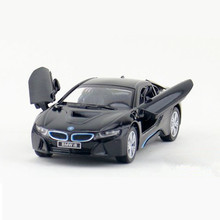 KINSMART Diecast Cars 1:36 Scale i8 Concept Car Toys / Briqnuedos, 12.5cm Pull Back Doors Openable Toy Car Models For Children(China)