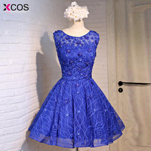 Real Photo Royal Blue Short Prom Dress Fast Shipping Scoop Flower Lace galajurken Imported-Party-Dress Buy Direct from China