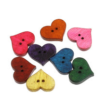 Hoomall Brand 50PCs Wooden Buttons Heart Shaped Scrapbooking Mixed Craft And Scrapbooking DIY Sewing Accessories 20x16.5mm