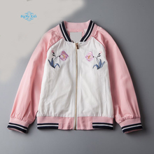 BigMa Kids girls jacket flowers, embroidery Baseball coat children's wear wholesale autumn 2017