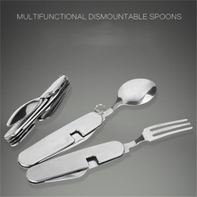 Multifunction Outdoor Camping Flatware Picnic Tableware Stainless Steel Cutlery 4in1 Folding Fork Knife&Bottle Opener Dinnerware