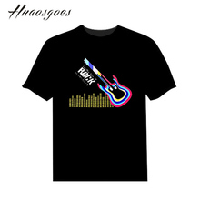 Big Sale EL Sound Activated Man Tshirt Light Up and down Equalizer led flash T-Shirt Unisex for Party Rock DJ Christmas(China)