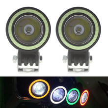"2x 2"" 10W Round Led Work Light White Red Yellow Blue Green Angle Eye DRL Led Driving Light Offroad Off Road Lamp 4x4 4WD 12V 24V"