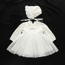 Baby Girls Birthday Dresses Long Sleeve Party Wedding Ball Gown Newborn Infant Christening Dress Kids Clothes for 0-2 Years(China)