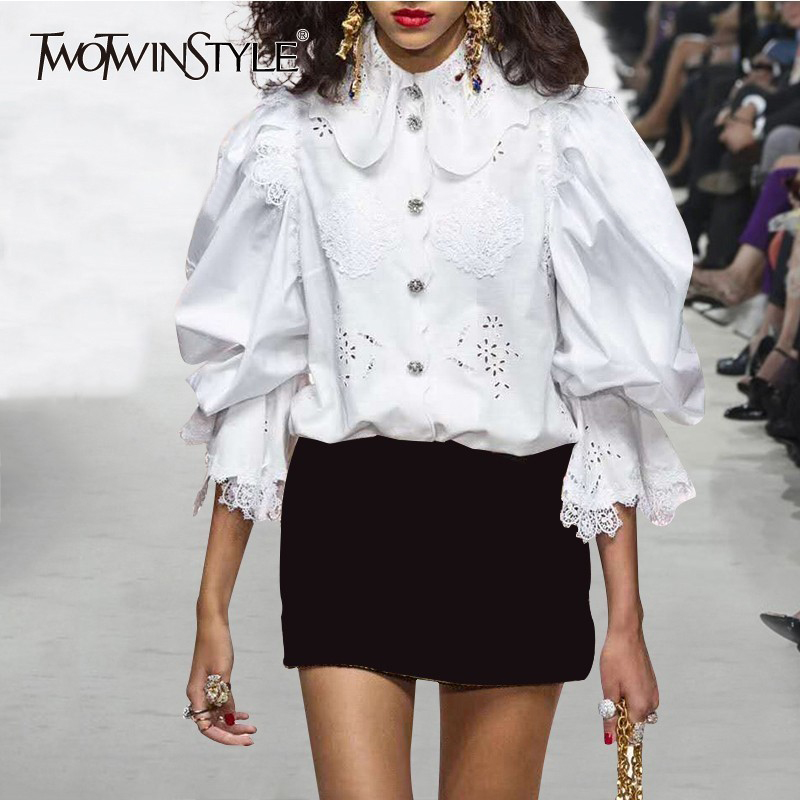 TWOTWINSTYLE Patchwork Lace Women Tops And Blouses Flare Sleeve White Slim Hollow Out Ruffles Women's Shirts Elegant Clothes New