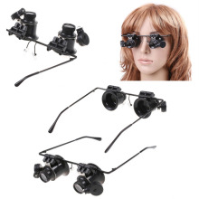 New Design Fishing Eyewear Binocular Glasses Type 20X Watch Repair Magnifier with LED Light for outdoor fishing free shipping