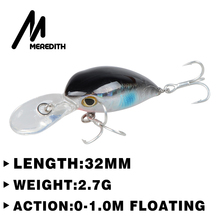 MEREDITH 32mm 2.7g Mini Crazy pesca Crankbait Hard Crank Bait Tackle Artificial Fishing Lures Swimbait Fish light lures match(China)