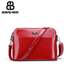 BARHEE Fashion Alligator Messenger Bags Product Patent Leather Crocodile Pattern Shoulder Bag for Women Hot Sale Handbag Beige(China)