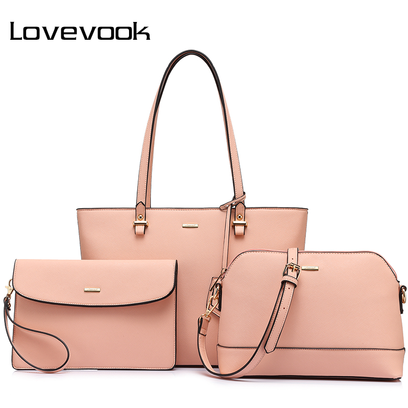 LOVEVOOK women 3 sets handbag women composite bag female large capacity totes fashion shoulder crossbody bag small purse<br>