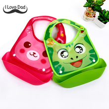 2017 Silicone Baby Bandana Bibs Lovely Animals Meals Pocket Bib Waterproof Feeding Newborn Infant Food Bib baberos bebes(China)