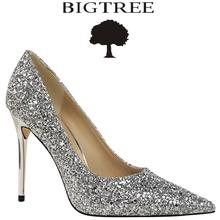 BIGTREE Brand Woman Shoes Gold Glitter Pumps Discount Ivalentine Shoes High Heels Princess Wedding Shoes(China)