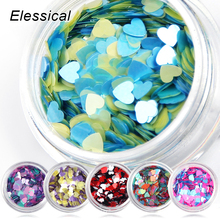 ELESSICAL 6Bottles Colorful Loving Heart Nail Glitters Acrylic Powders Manicures Nail Sequins Bottles Nail Art Decorations WY937