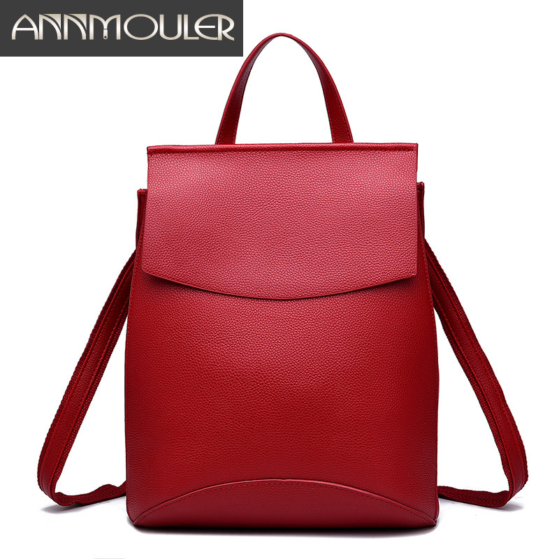 Annmouler Famous Brand Women Backpacks 6 Colors Daypack Pu Leather Backpacks for Teenager Shoulder Bag Preppy Style School Bag<br><br>Aliexpress