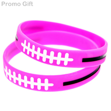 Promo Gift 50PCS/Lot Ink Filled Logo Plus and Minus Sign Silicone Wristband Adult Size Pink(China)