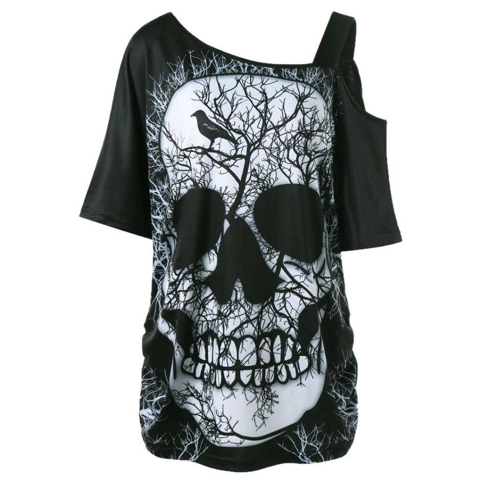 8c426a6c4189a Women Short Sleeve Skew Collar Skull T-Shirt Shoulder Skull T-Shirt Tops  Blouse