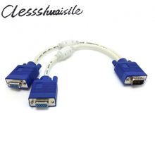(100pcs/lot) RGB VGA SVGA Male to 2 VGA HDB15 Female Splitter Adapter extension Cable w/ core