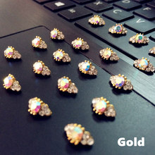 Free Shipping 10pcs latest 3d fashion Gold/Silver base AB color rhinestone nail art rings