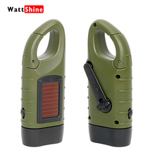 Professional Portable LED Hand Crank Dynamo Solar Power Flashlight Torch for Outdoor Camping Mountaineering Traditional Design(China)