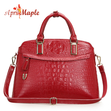 vintage women leather handbags genuine leather bag Crocodile pattern cowhide leather large messenger bag bolsos mujer