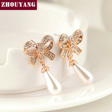 ZYE259 Vara Bow Simulated-peart Rose Gold Color Stud Earrings Jewelry Made with Genuine Austrian Crystal Wholesale(China)