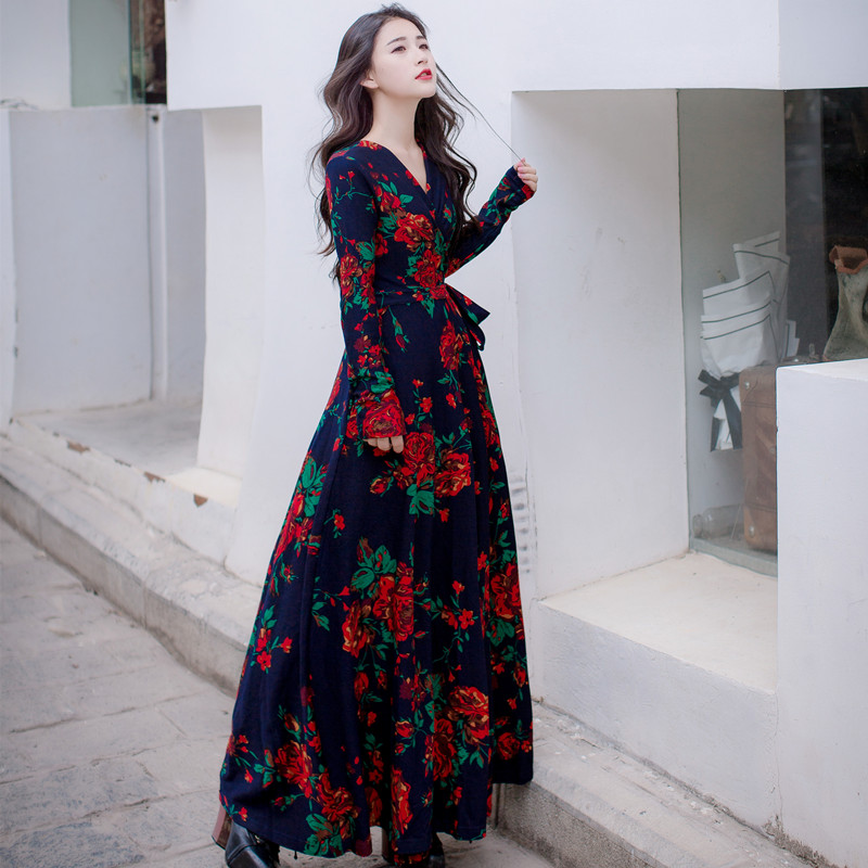 2018 Spring Fall Elegant Korea Ladies Clothing Women Vintage V Neck Floral Print Dress High Waisted Retro Long Sleeve Maxi Dress