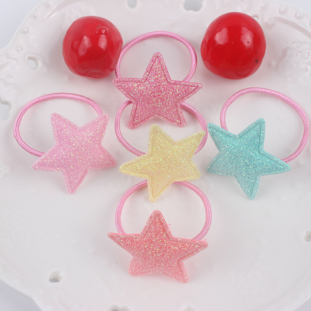 2017 hot geometric five-pointed star girls rubber bands diameter 30mm+30mm lovely Hair accessories for kids Elastic Hair Bands(China (Mainland))