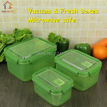 (3 boxes/set Rectangle) High Quality Plastic Organizer Food Storage Vacuum Boxes Microwave Boxes Food Container (MH-1118)(China)
