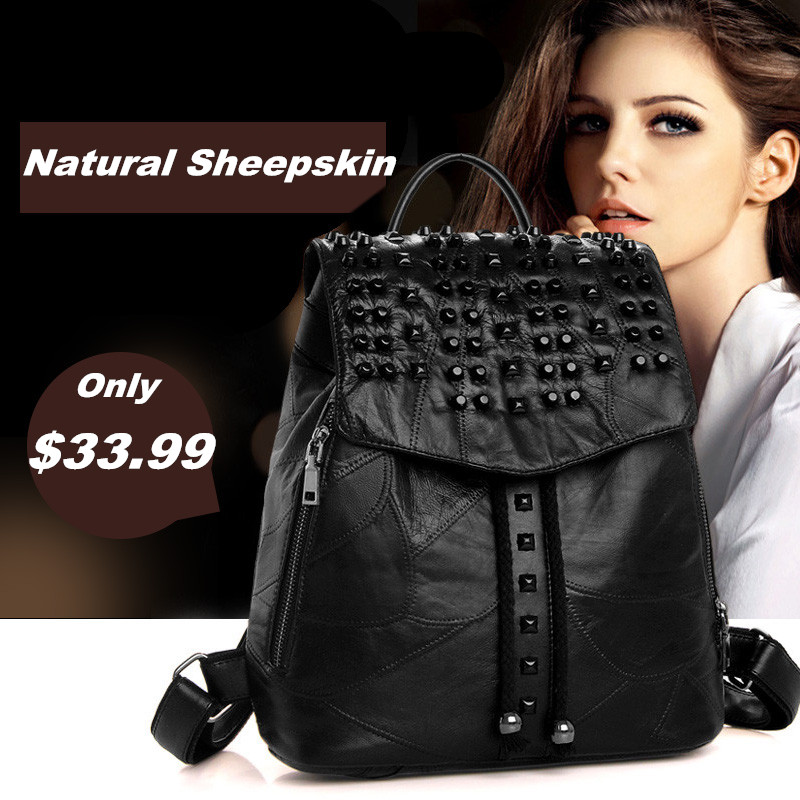 Guarantee REAL Sheepskin women backpack Fashion multi rivets decoration womens travel bags Casual patchwork genuine leather bag<br>