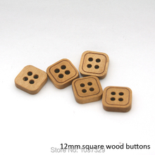 Wholesale 12mm fancy 4-hole square wood buttons light brown colors WOOD-018