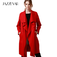 JAZZEVAR 2016 New autumn high fashion trend street women's wool blend Trench Coat Casual long Outerwear loose clothing for lady