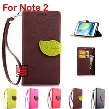 Leaf Clasp PU Leather Flip Filp Wallet Phone Mobile Case capa capinha Cover Cove Bag For Samsung Sumsung Samsuns Galaxy Note 2(China)