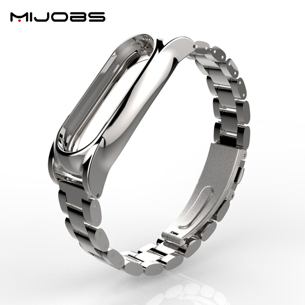 Original Mijobs Metal Strap For Xiaomi Mi Band 2 Straps Screwless Stainless Steel Bracelet Replace Accessories For Mi Band 2