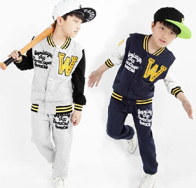 New Autumn 2017 Childrens  Boys Letter &amp; Button Clothes Set Child Outerwea &amp;Coats Boy Baseball Clothing Set Sports Suit For Boy<br><br>Aliexpress