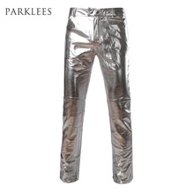 Side Zipper Design Moto Jeans Style Metallic Gold Pants/Straight Leg Trousers Casual Slim Fit Motorcycle PU Leather Shiny Pants(China)