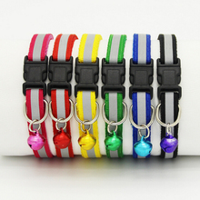1.0cm/1.5cm Width Small Dogs Cat Collar Puppy Nylon Reflective Pet Dog Collar Necklace With Bell For Dog Supplies(China)